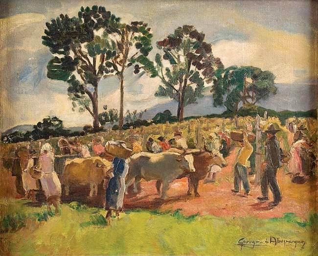 Georgina de Albuquerque,Fazenda com figuras e animais, óleo sobre tela,(c.1952) - 39 x 47 cm.