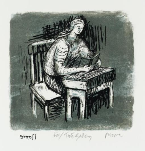 Girl Seated at Desk V 1974 by Henry Moore OM, CH 1898-1986