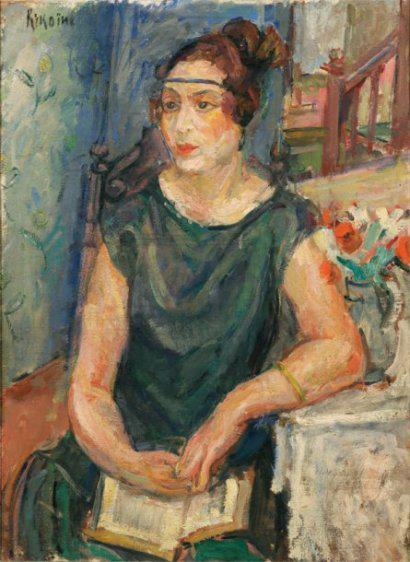 KIKOINE-Michel-3Michel KIKOINE (1892-1968) Portrait de Madame Socolovert Huile sur toile signée en haut à gauche. (Rentoilage). 73 x 54 cm