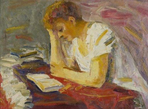 Mulher lendo,George Zlotescu (Romênia, 1906-1983)Óleo sobre tela