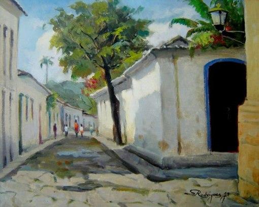 Salvador Rodrigues Jr. (1907-1995)Rua da árvore - ParatiÓleo sobre tela40 x 50 cm
