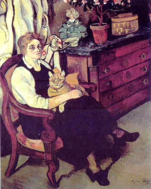 Suzanne Valadon (1865-1938)   Portrait de Miss Lily Walton avec Raminou