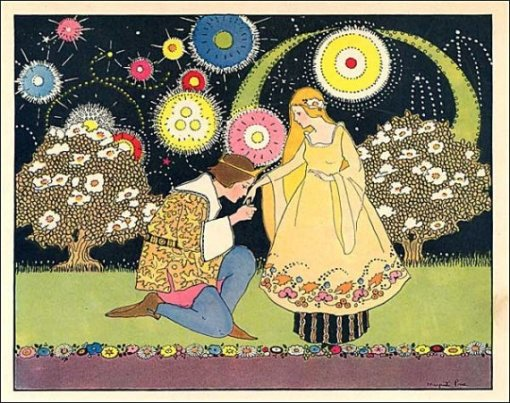 Vintage 1930 Prince and Princess Fairy Tale Story Illustration Print by Margaret Evans Price