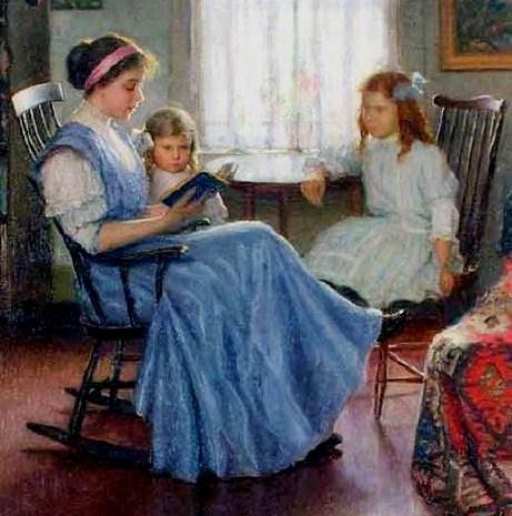 a Lee Lufkin Kaula (American artist, 1865–1957) Mother Reading