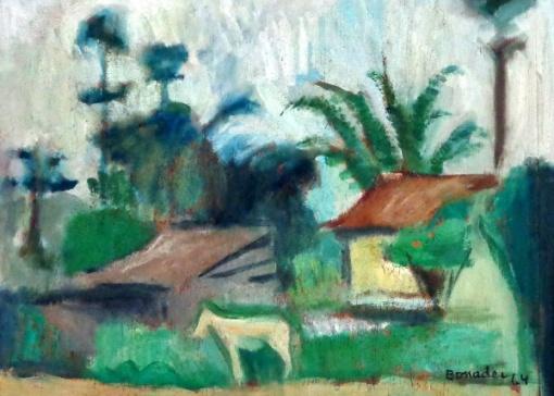 Aldo Bonadei - Paisagem - Óleo sobre placa - 1964 - 29 x 39 cm