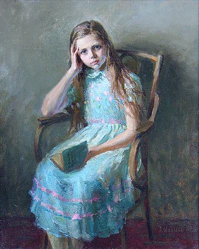 Alexey Shalaev, Girl with a Book, 1993, ost. 50 x 40 cm