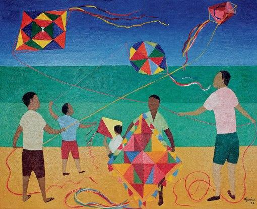 Djanira da Motta e Silva, Meninos com Pipa, ost, 1966, estudo de painel, 65 x 81 cm