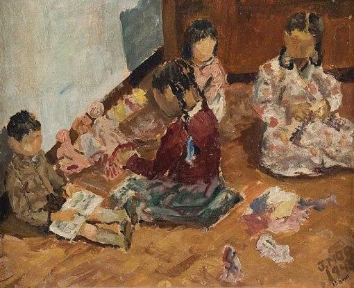 Jorge Mori,Crianças brincando,ost, 1945, 33,5 x 41 cm.