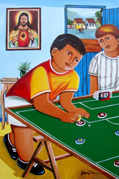Marcio Pita - Quadro futebol de botão quadro óleo sobre tela 40x60cm