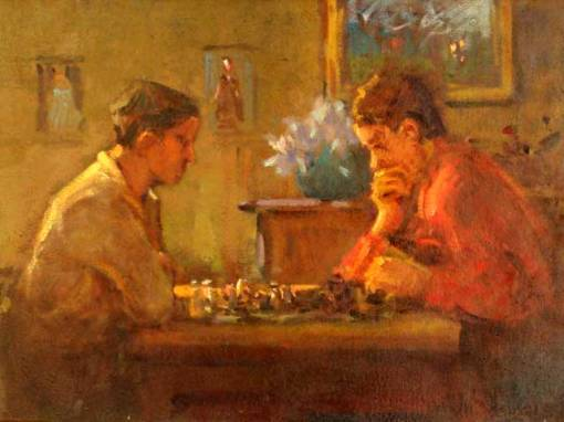 Menase Waidergorn (1927),Jogadores de xadrez, ost,30x40cm