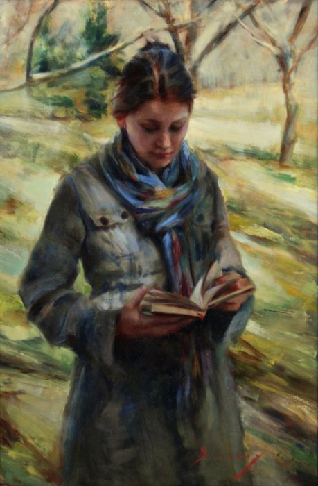 Michelle -Dunaway-AWalk in new England oil on linen 75 x50 cm
