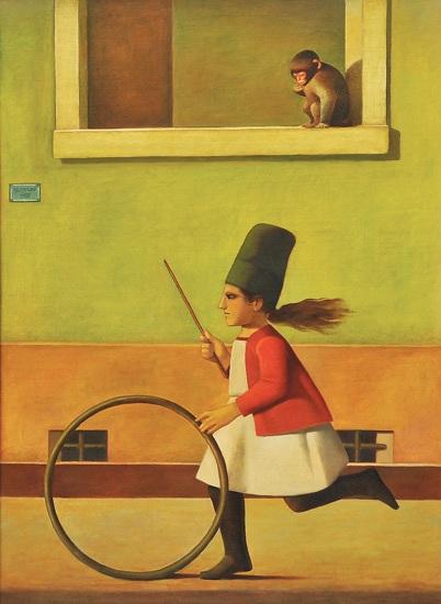 REYNALDO FONSECA (1925),Menina e o macaco,1977,ost, 95 x 130 cm