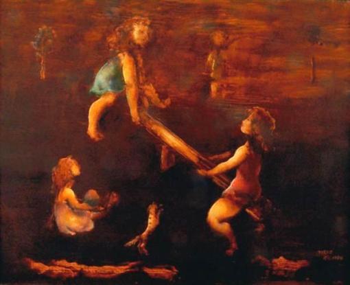 TERUZ, Orlando (1902 - 1984) - Meninas na Gangorra, o.s.t. - 80 x 100 cm. Assinado, datado 84 e localizado Rio e