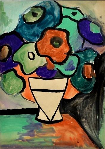 ATHOS BULCÃO (1918 - 2008). Vaso com Flores Sobre a Mesa, aquarela, 31 X 23. Assinado e datado (1940) no c.i.d