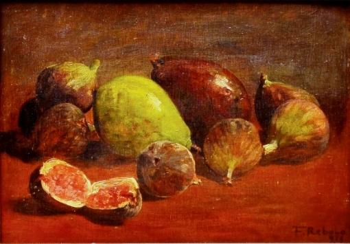 FRANCISCO REBÔLO (1902-1980) - Figos e Abacates, óleo smadeira, 23 x 33. Assinado e datado (1938)