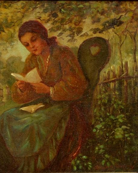 GEORGINA DE ALBUQUERQUE (1885 - 1962) - Carta de Amor, óleo s tela, 55 x 47. Assinado no c.i.d