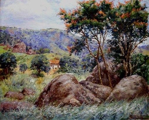 JOÃO BATISTA DE P PAULA FONSECA (1889 -1960) Paisagem, 1952, ost,- 60 x 72 cm