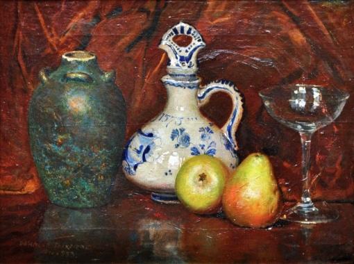 OSWALDO TEIXEIRA (1904-1975).Peras. Cálices, Jarro e Vaso em cerâmica, óleo s tela, 40 x 53. Assinado, datado (1933) e localizado (Rio)