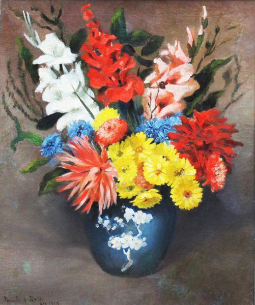 Paulo Rossi Ozir, Vaso de Flores, Óleo sobre tela, 65 alt X 54 larg (cm), acie, 1923
