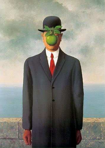 Ren? Magritte, The Son of Man, 1964, Restored by Shimon D. Yanowitz, 2009  øðä îàâøéè, áðå ùì àãí, 1964, øñèåøöéä ò