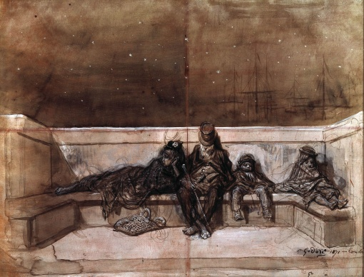A_Couple_and_Two_Children_Sleeping_on_a_London_Bridge)_by_Gustave_Dore
