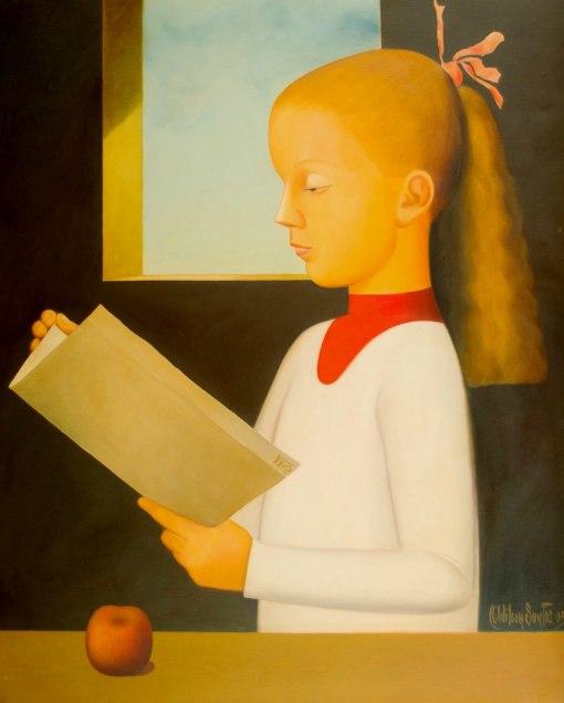 ADILSON SANTOS - (Brasil,1944)Menina lendo uma carta - óleo sobre tela - 81 x 65 cm - 2005