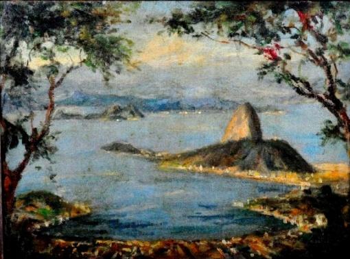 ARAUJO LIMA - Baia da Guanabara, vista do Morro Dona Marta óleo sobre tela, 32X44cm