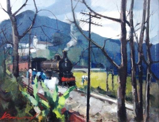 ARMÍNIO PASCUAL (1920) Trem, óleo sobre madeira industrializada - 49 x 64.