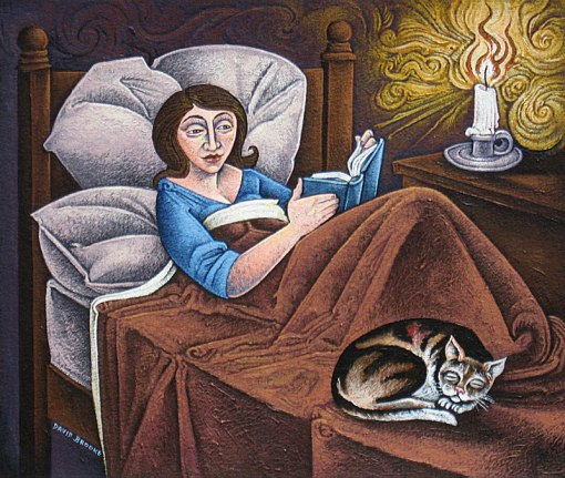 David Brooke (Inglaterra) , Reading in bed, acrílica 10 x 10 inches