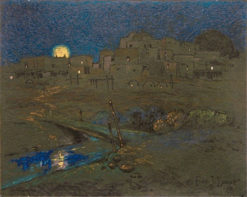 Night-Taos-Pueblo-by-Pedro-Joseph-de-Lemos