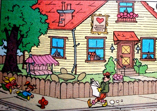 rua, Patópolis, calçada, homem lendo, crianças brincando,