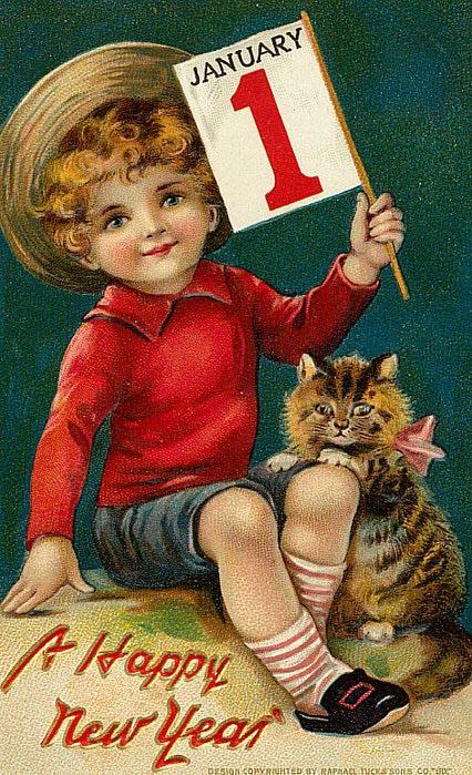 1 de janeiro, menino com gatinho
