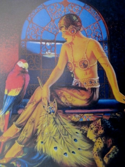 BILLY DEVORSS PINUP GIRL ART DECO FLAPPER BEAUTY WITH PARROT
