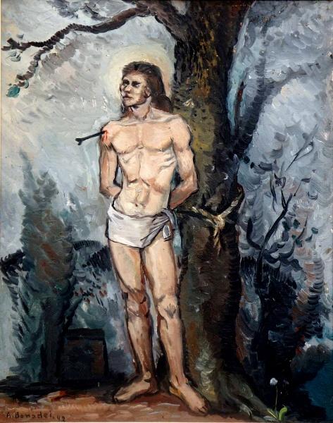 BONADEI -São Sebastião - Oleo s cartão prensado CIE - 1942 - 49 x 39 cm