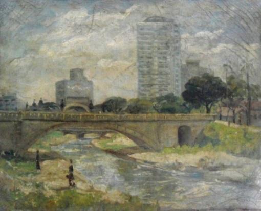 Borghese - São Paulo antigo Rio Tamanduateí , ost, 1965  40 x 49 cm.