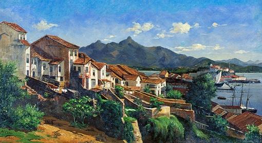 Caron_(1882),_Vista_da_Gamboa_no_Rio_de_JaneiroVista da Gamboa em 1882, óleo sobre tela de Hipólito Caron (Brasil 1862-1892)