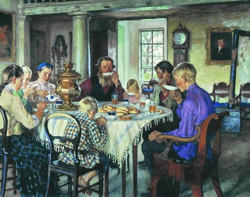 CHÁ - Nikolai Bogdanov-Belsky (1868-1945)new-owners-tea-drinking