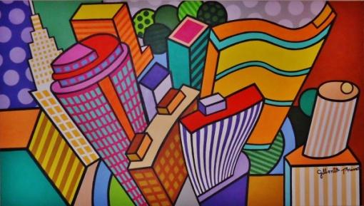 Gilberto Primo - Acrílica sobre tela, medindo 80 x 140 cm, intitulado Composição Urbana, assinado e datado no verso. São Paulo, 2013