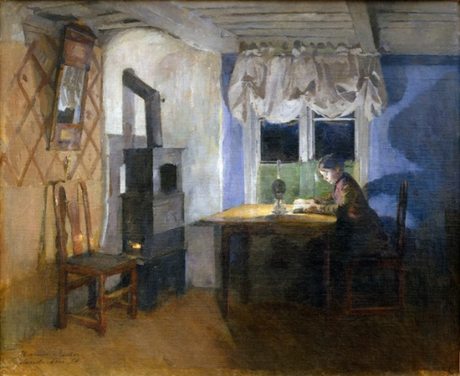 Harriet Backer (Norwegian, 1845-1932), By Lamplight, 1890, Oil on canvas, 64.7 x 66.5 cm, The Rasmus Meyer Collection, The Bergen Art Museum, RMS.M.20.