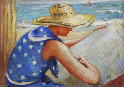 Houten, Georges Van (1888-1964) Lady reading a newspaper on the beach