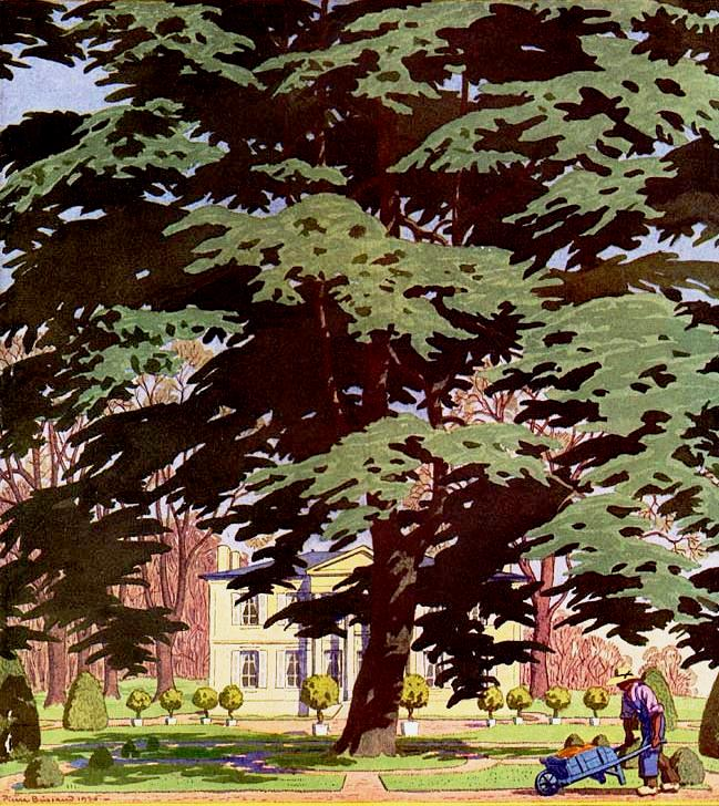 jardim, jardineiro, casa, árvores, Pierre Brissaud, House and Garden 1927-03