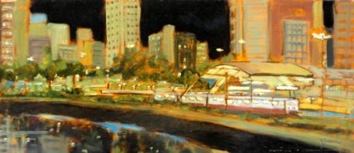 Marcio Schiaz - Estação Cidade Jardim - SP - Óleo sobre tela - 31 x 70 cm - 2005 -