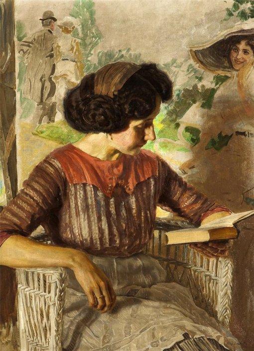 Reading Girl in Studio. Josef Loukota (Czech, 1879-1967).