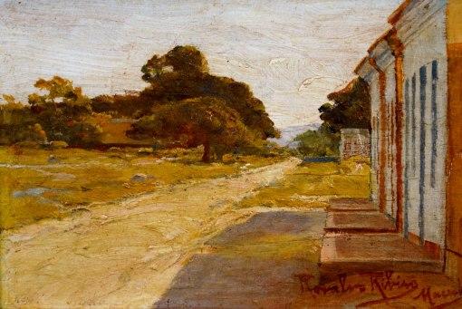 ROSALVO RIBEIRO (1865 - 1915),Paisagem de Maceió, óleo sobre madeira, 11 x 17 cm