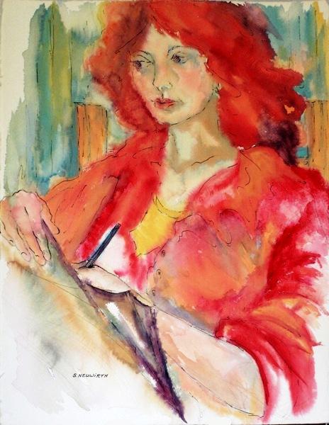 Sidney Neuwirth, jovem ruiva escrevendo, aquarela 75 x 60 cm