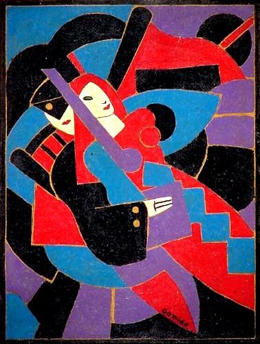 Antonio Gomide, Pierrot e Colombina,ose, 40x32
