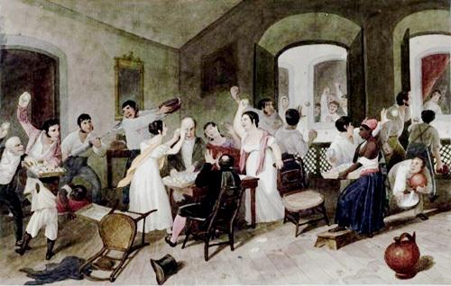 Augustus Earle-jogos-durante-o-entrudo-no-Rio-de-Janeiro-Aquarela-circa 1822