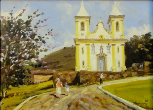 BENIGNO, JOSE RIBEIRO (1955). Igreja de São Francisco de Assis em Sabará - Mg, óleo s tela, 24 X 33. Assinado e datado (1988)