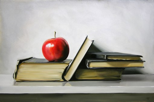 BOOKS Gala apple with antique books Christopher Stott