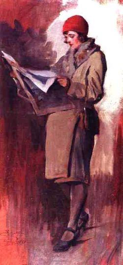 Eugênio Latour,O comunicado, 1929, ost, 67 x 33cm, Museu Antonio Parreiras